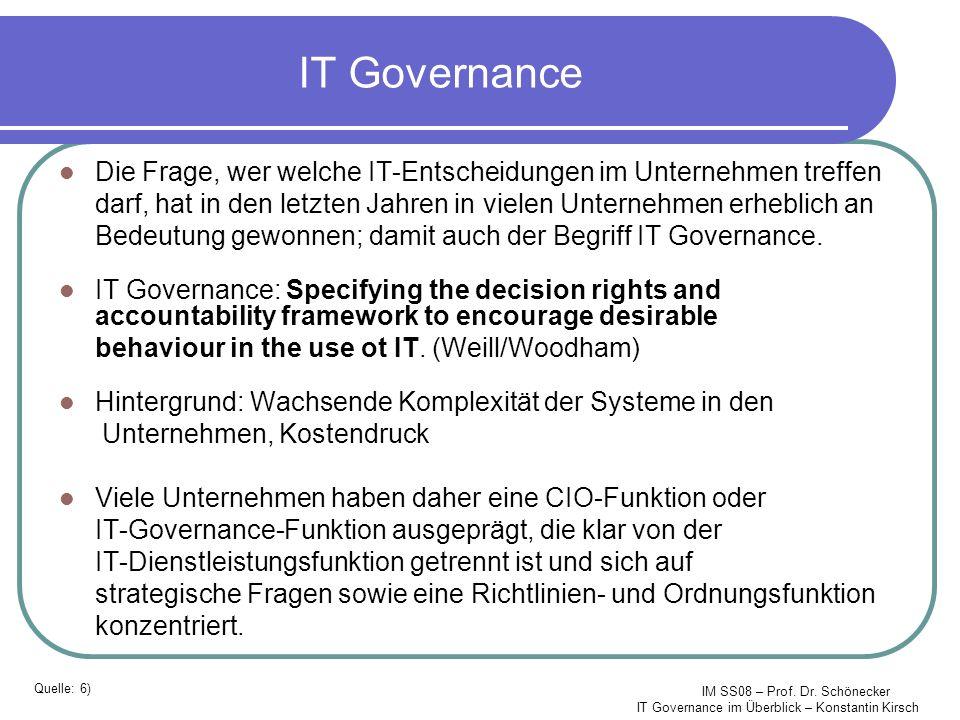 IM SS08 – Prof. Dr. Schönecker IT Governance im Überblick – Konstantin Kirsch IT Governance Die Frage, wer welche IT-Entscheidungen im Unternehmen tre