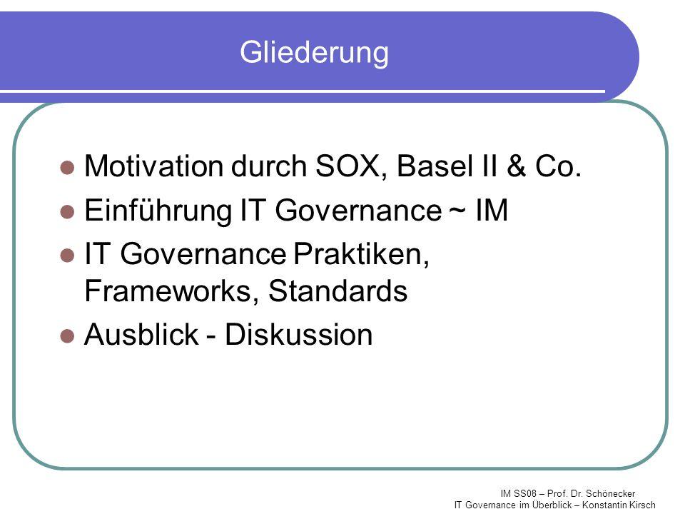 IM SS08 – Prof. Dr. Schönecker IT Governance im Überblick – Konstantin Kirsch Gliederung Motivation durch SOX, Basel II & Co. Einführung IT Governance