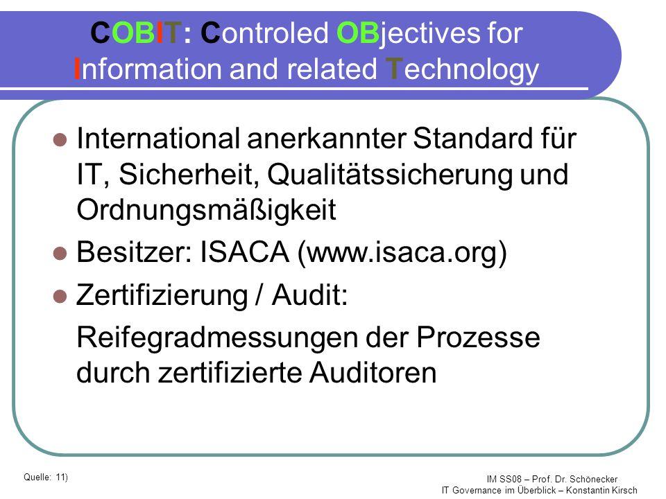 IM SS08 – Prof. Dr. Schönecker IT Governance im Überblick – Konstantin Kirsch COBIT: Controled OBjectives for Information and related Technology Inter