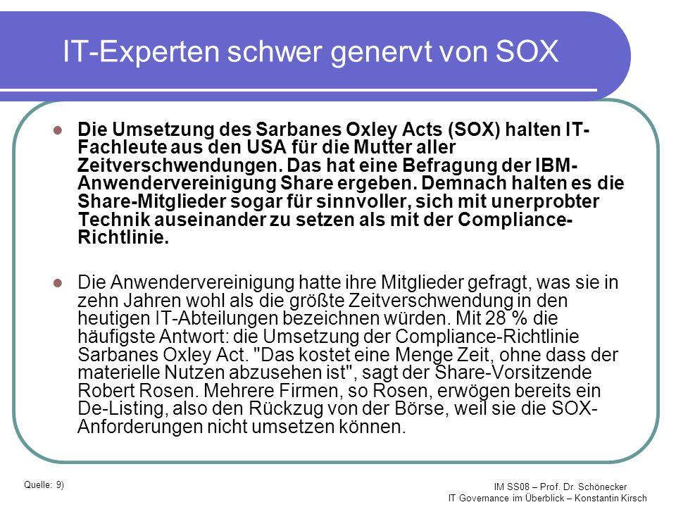 IM SS08 – Prof. Dr. Schönecker IT Governance im Überblick – Konstantin Kirsch IT-Experten schwer genervt von SOX Die Umsetzung des Sarbanes Oxley Acts