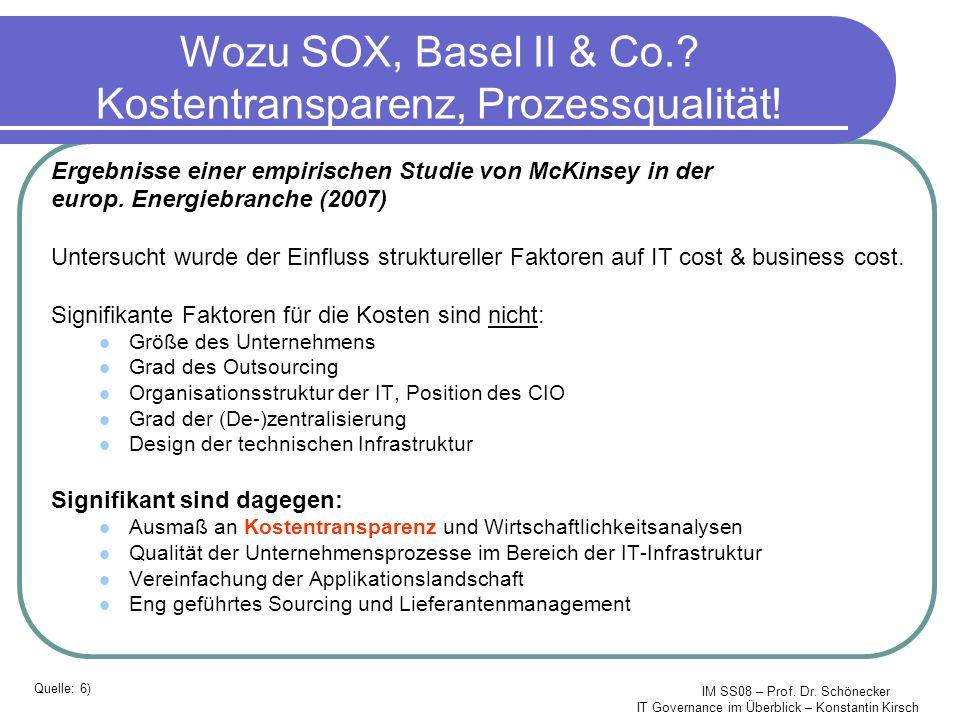 IM SS08 – Prof. Dr. Schönecker IT Governance im Überblick – Konstantin Kirsch Wozu SOX, Basel II & Co.? Kostentransparenz, Prozessqualität! Ergebnisse