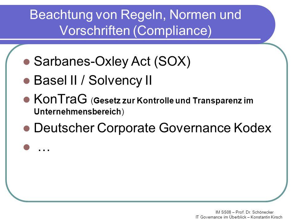 IM SS08 – Prof. Dr. Schönecker IT Governance im Überblick – Konstantin Kirsch Beachtung von Regeln, Normen und Vorschriften (Compliance) Sarbanes-Oxle