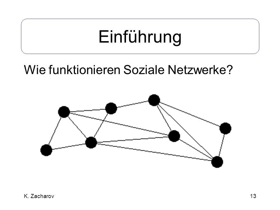 13 Einführung Wie funktionieren Soziale Netzwerke? K. Zacharov