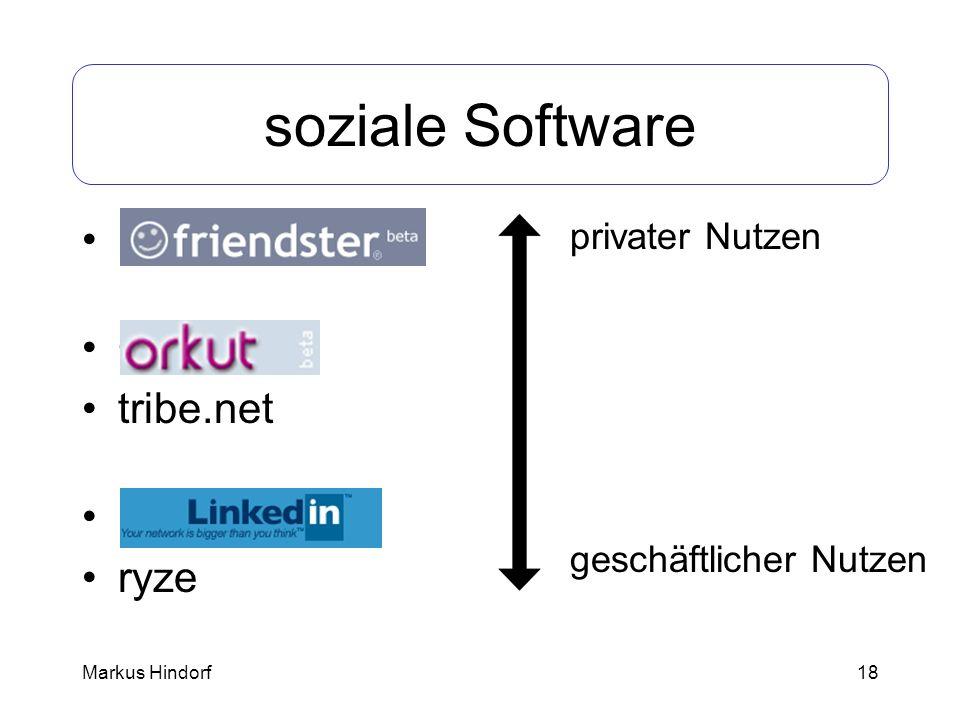 18 soziale Software Friendster Orkut tribe.net LinkedIn ryze privater Nutzen geschäftlicher Nutzen Markus Hindorf