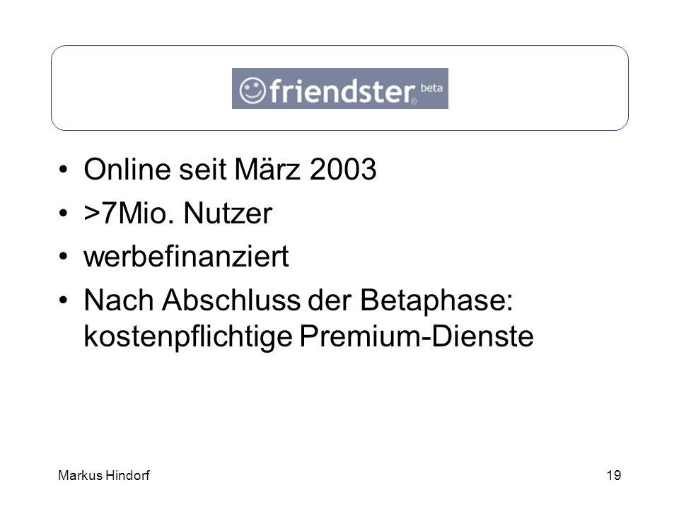 19 Friendster Online seit März 2003 >7Mio. Nutzer werbefinanziert Nach Abschluss der Betaphase: kostenpflichtige Premium-Dienste Markus Hindorf