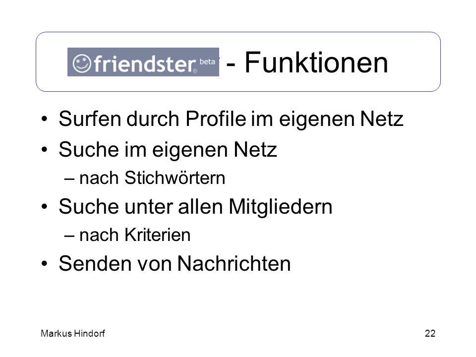 22 Friendster - Funktionen Surfen durch Profile im eigenen Netz Suche im eigenen Netz –nach Stichwörtern Suche unter allen Mitgliedern –nach Kriterien