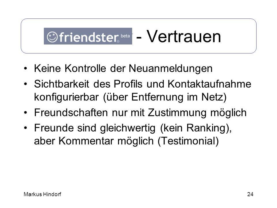 24 Friendster - Vertrauen Keine Kontrolle der Neuanmeldungen Sichtbarkeit des Profils und Kontaktaufnahme konfigurierbar (über Entfernung im Netz) Fre