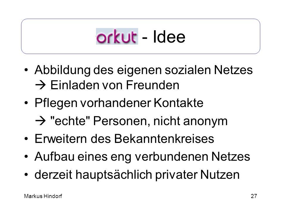 27 Orkut - Idee Abbildung des eigenen sozialen Netzes Einladen von Freunden Pflegen vorhandener Kontakte