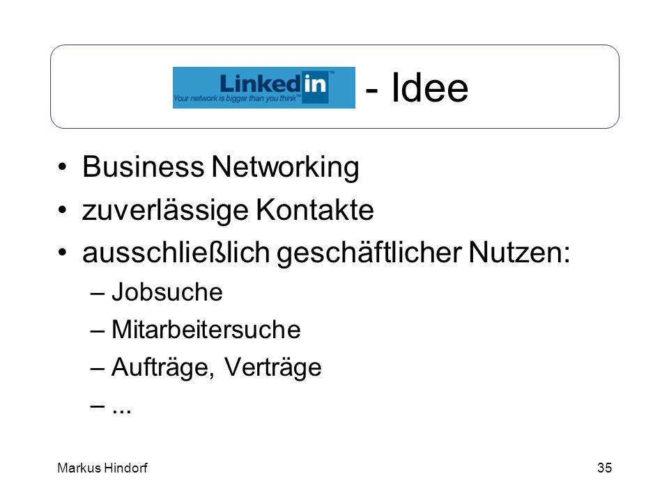 35 LinkedIn - Idee Business Networking zuverlässige Kontakte ausschließlich geschäftlicher Nutzen: –Jobsuche –Mitarbeitersuche –Aufträge, Verträge –..