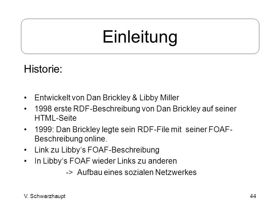 44 Einleitung Historie: Entwickelt von Dan Brickley & Libby Miller 1998 erste RDF-Beschreibung von Dan Brickley auf seiner HTML-Seite 1999: Dan Brickl