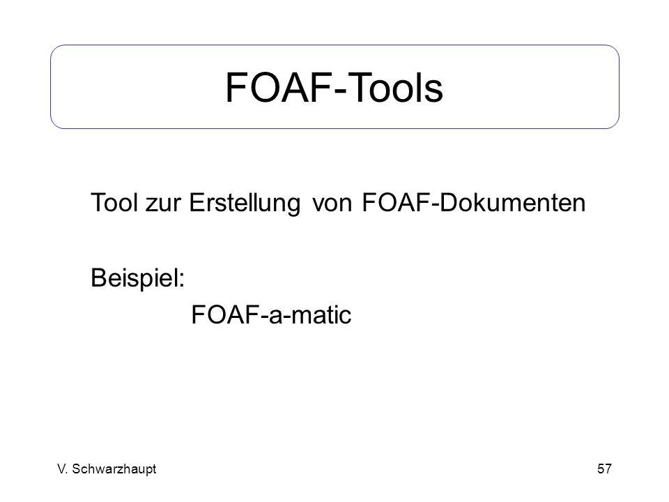 57 FOAF-Tools Tool zur Erstellung von FOAF-Dokumenten Beispiel: FOAF-a-matic V. Schwarzhaupt