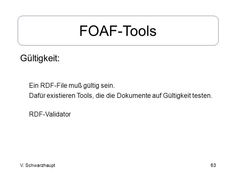 63 FOAF-Tools Gültigkeit: Ein RDF-File muß gültig sein. Dafür existieren Tools, die die Dokumente auf Gültigkeit testen. RDF-Validator V. Schwarzhaupt