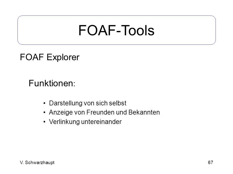 67 FOAF-Tools FOAF Explorer Funktionen : Darstellung von sich selbst Anzeige von Freunden und Bekannten Verlinkung untereinander V. Schwarzhaupt