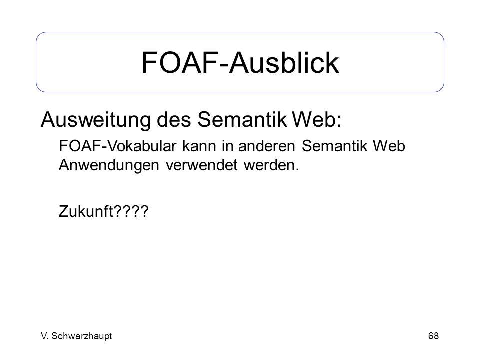 68 FOAF-Ausblick Ausweitung des Semantik Web: FOAF-Vokabular kann in anderen Semantik Web Anwendungen verwendet werden. Zukunft???? V. Schwarzhaupt