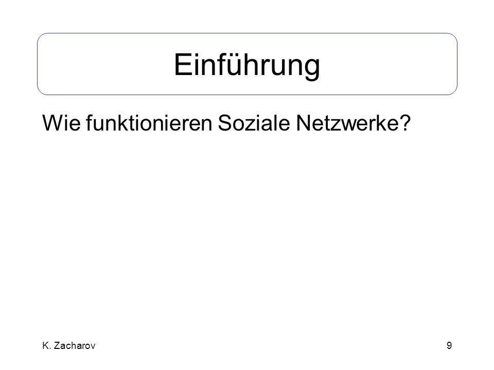 9 Einführung Wie funktionieren Soziale Netzwerke? K. Zacharov