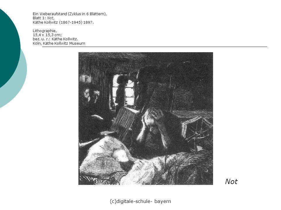 (c)digitale-schule- bayern Ein Weberaufstand (Zyklus in 6 Blättern), Blatt 1: Not, Käthe Kollwitz (1867-1945) 1897. Lithographie, 15,4 x 15,3 cm; bez.