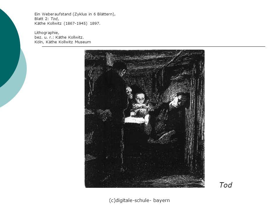 (c)digitale-schule- bayern Ein Weberaufstand (Zyklus in 6 Blättern), Blatt 2: Tod, Käthe Kollwitz (1867-1945) 1897. Lithographie, bez. u. r.: Käthe Ko