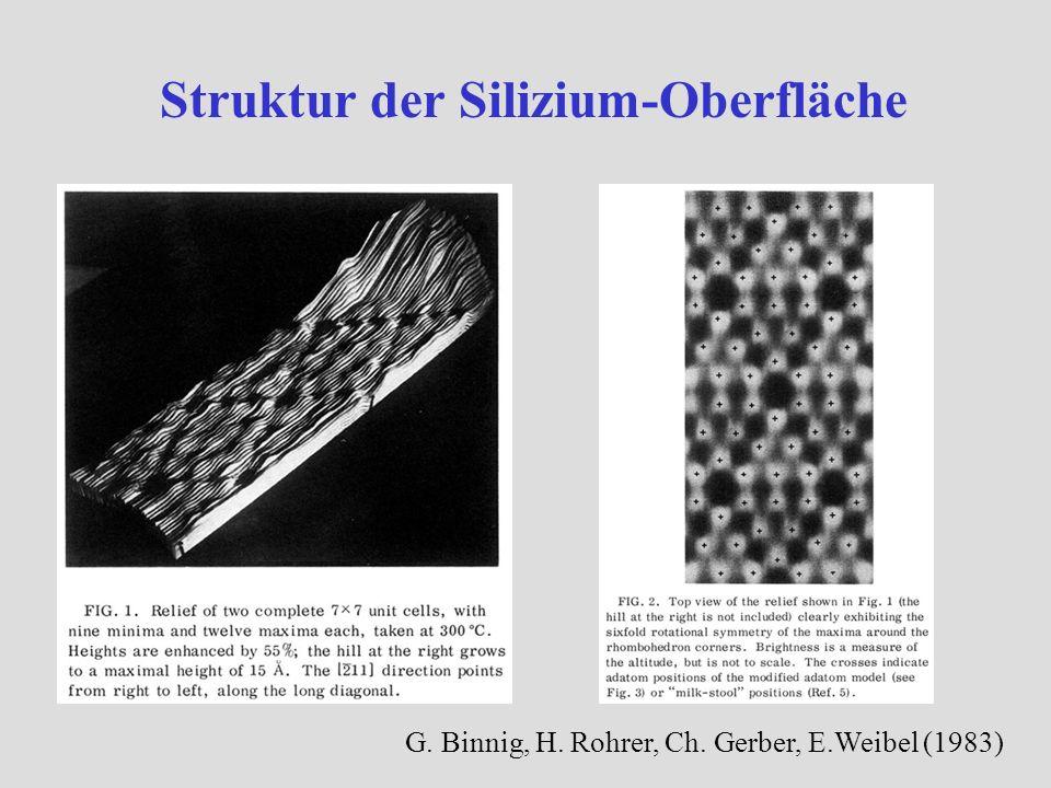 Struktur der Silizium-Oberfläche G. Binnig, H. Rohrer, Ch. Gerber, E.Weibel (1983)