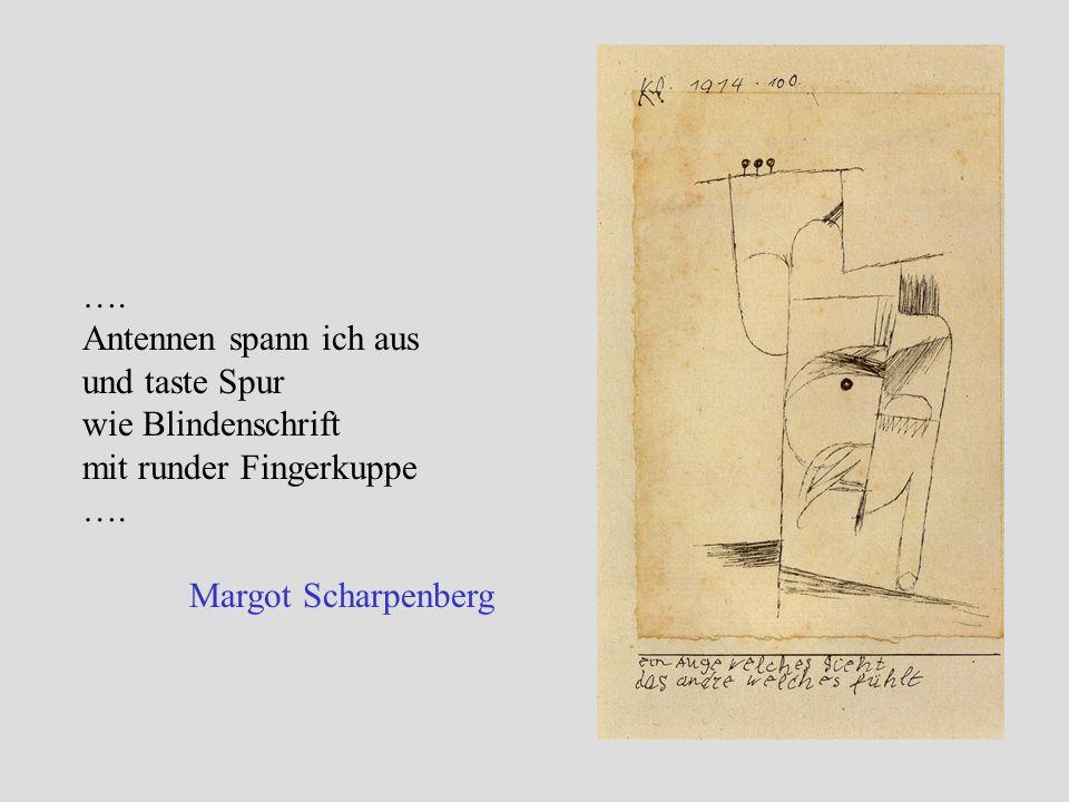 …. Antennen spann ich aus und taste Spur wie Blindenschrift mit runder Fingerkuppe …. Margot Scharpenberg