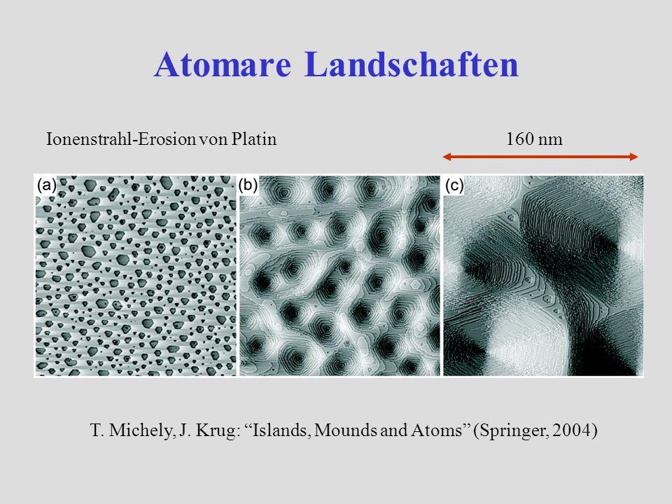 Atomare Landschaften Ionenstrahl-Erosion von Platin T. Michely, J. Krug: Islands, Mounds and Atoms (Springer, 2004) 160 nm