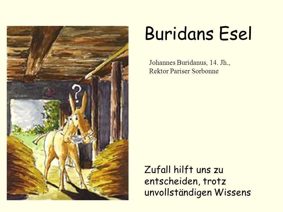 Buridans Esel Zufall hilft uns zu entscheiden, trotz unvollständigen Wissens Johannes Buridanus, 14. Jh., Rektor Pariser Sorbonne