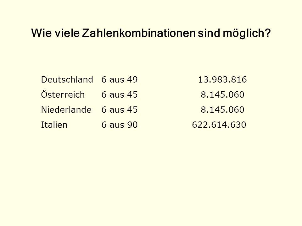 Wie viele Zahlenkombinationen sind möglich? Deutschland6 aus 49 13.983.816 Österreich6 aus 45 8.145.060 Niederlande6 aus 45 8.145.060 Italien6 aus 90