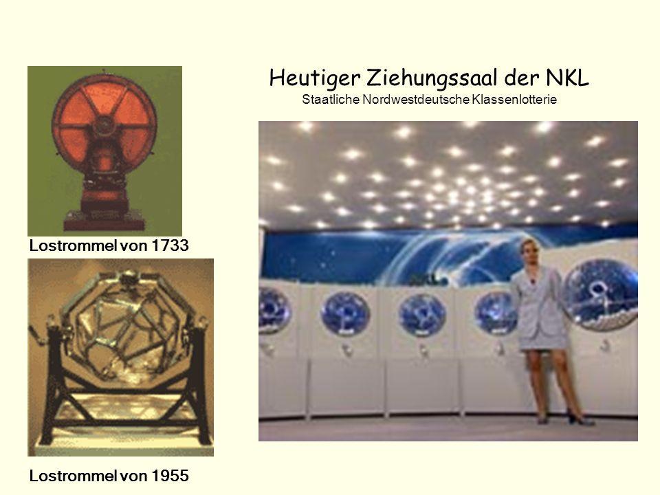 Heutiger Ziehungssaal der NKL Staatliche Nordwestdeutsche Klassenlotterie Lostrommel von 1733 Lostrommel von 1955