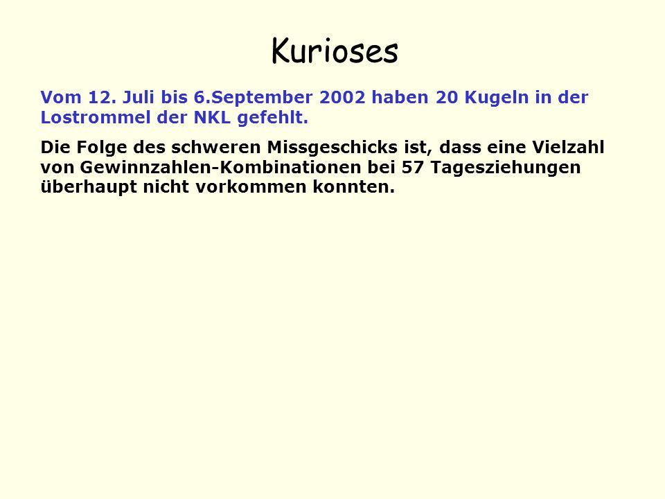 Kurioses Vom 12. Juli bis 6.September 2002 haben 20 Kugeln in der Lostrommel der NKL gefehlt. Die Folge des schweren Missgeschicks ist, dass eine Viel