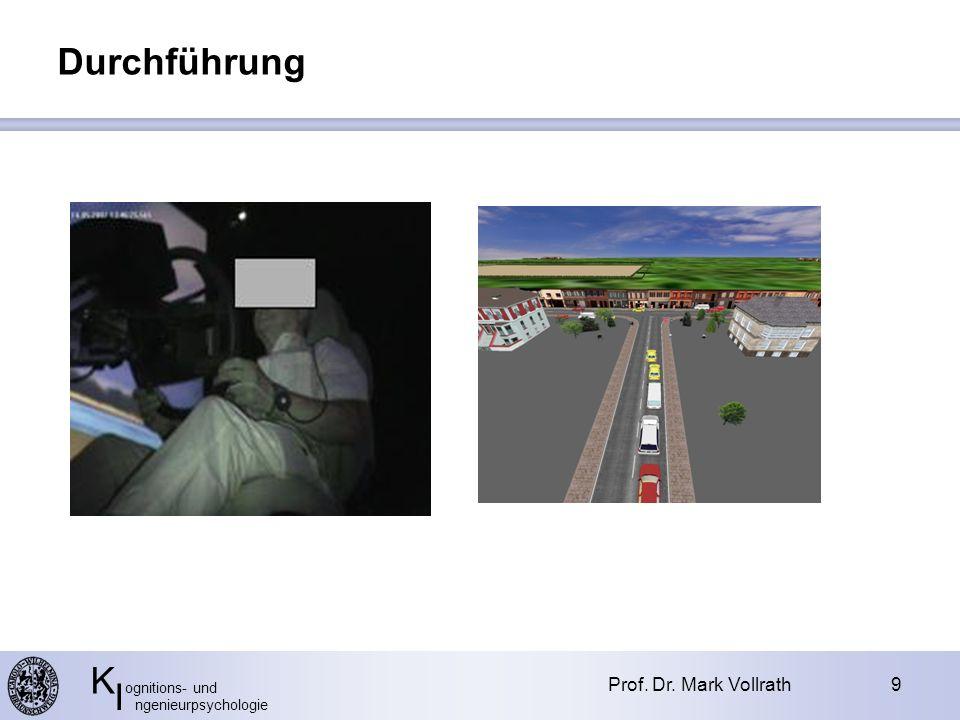 K ognitions- und I ngenieurpsychologie Prof. Dr. Mark Vollrath9 Durchführung