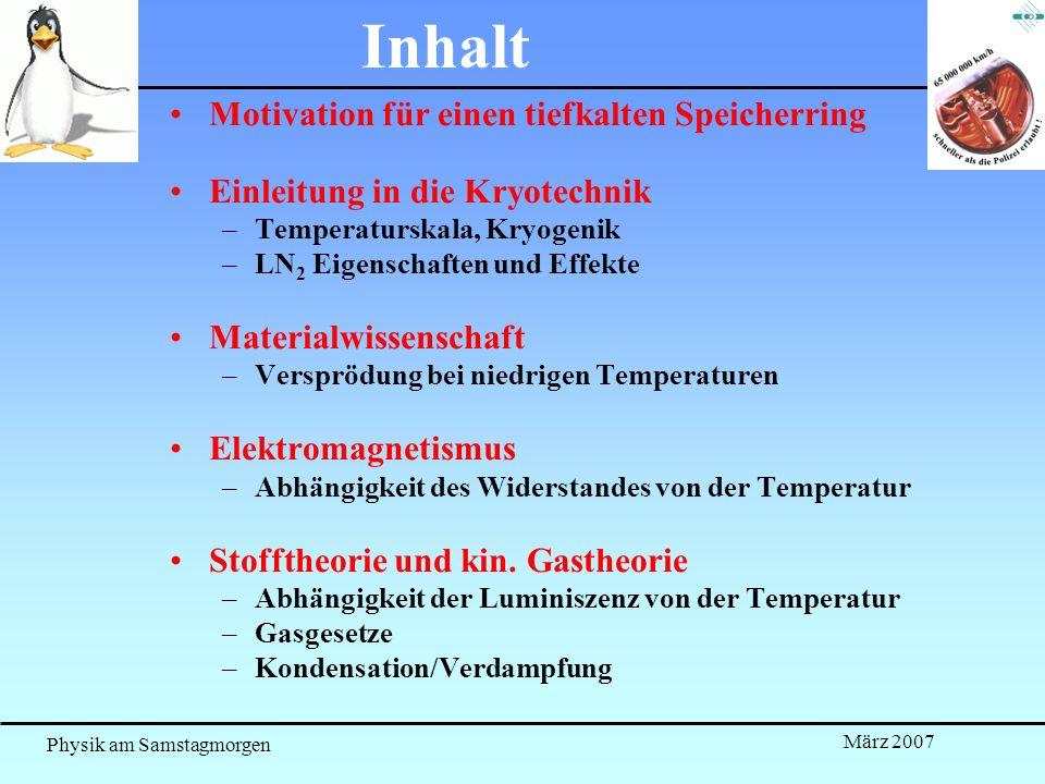 Physik am Samstagmorgen März 2007 Inhalt Motivation für einen tiefkalten Speicherring Einleitung in die Kryotechnik –Temperaturskala, Kryogenik –LN 2