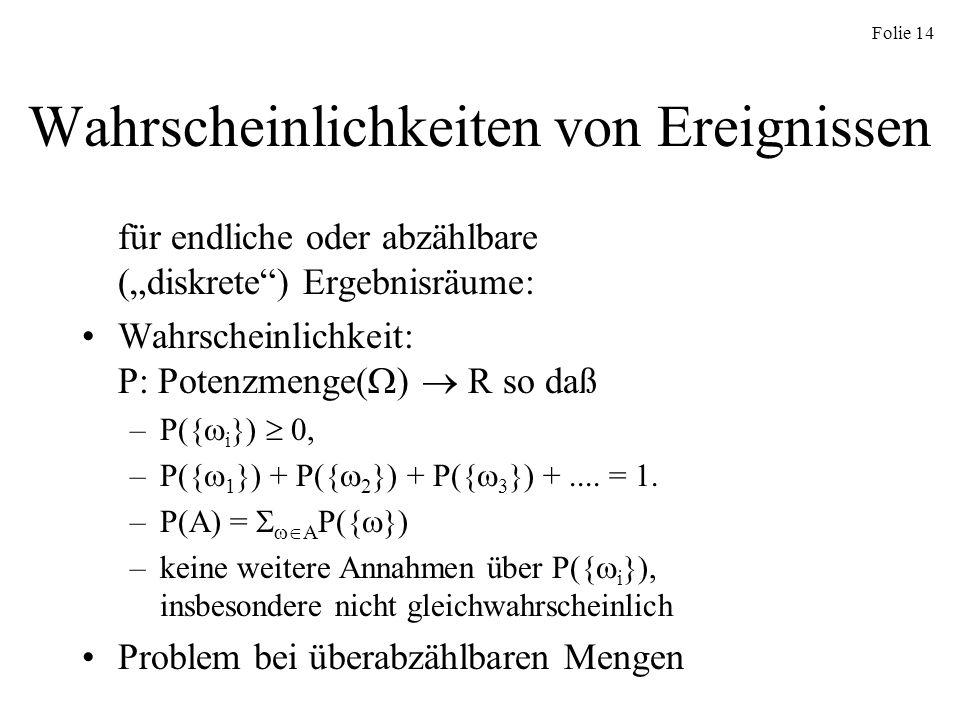 Folie 14 Wahrscheinlichkeiten von Ereignissen für endliche oder abzählbare (diskrete) Ergebnisräume: Wahrscheinlichkeit: P: Potenzmenge( ) R so daß –P