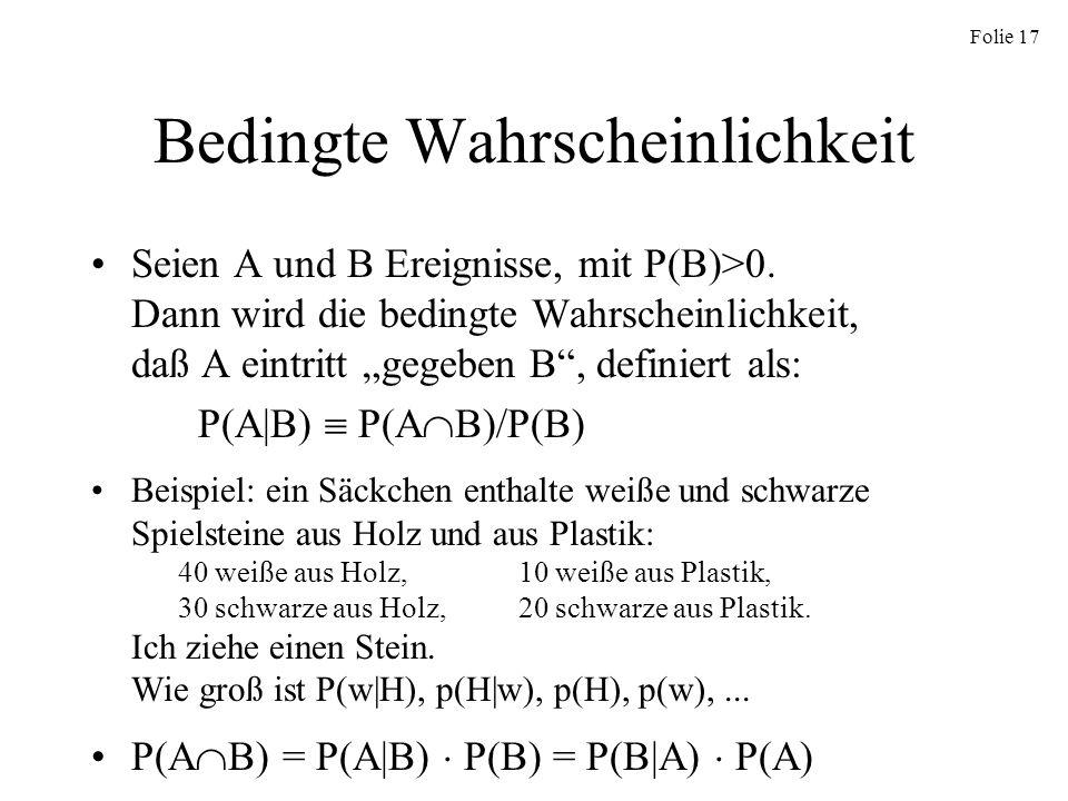 Folie 17 Bedingte Wahrscheinlichkeit Seien A und B Ereignisse, mit P(B)>0. Dann wird die bedingte Wahrscheinlichkeit, daß A eintritt gegeben B, defini