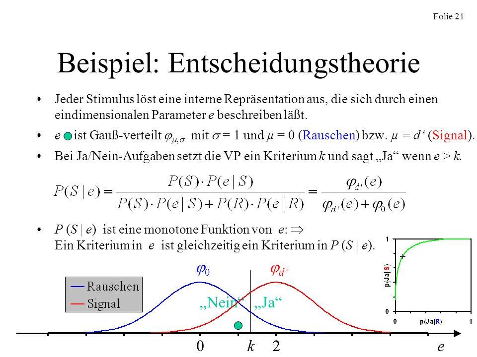 Folie 21 Beispiel: Entscheidungstheorie Jeder Stimulus löst eine interne Repräsentation aus, die sich durch einen eindimensionalen Parameter e beschre