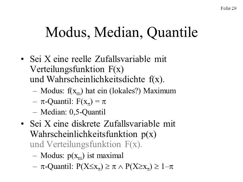 Folie 29 Modus, Median, Quantile Sei X eine reelle Zufallsvariable mit Verteilungsfunktion F(x) und Wahrscheinlichkeitsdichte f(x). –Modus: f(x m ) ha