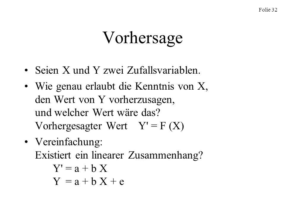 Folie 32 Vorhersage Seien X und Y zwei Zufallsvariablen. Wie genau erlaubt die Kenntnis von X, den Wert von Y vorherzusagen, und welcher Wert wäre das