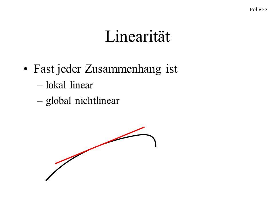 Folie 33 Linearität Fast jeder Zusammenhang ist –lokal linear –global nichtlinear