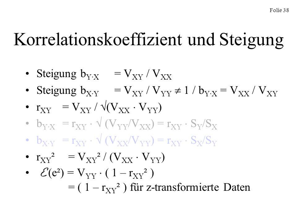 Folie 38 Korrelationskoeffizient und Steigung Steigung b Y·X = V XY / V XX Steigung b X·Y = V XY / V YY 1 / b Y·X = V XX / V XY r XY = V XY / (V XX V
