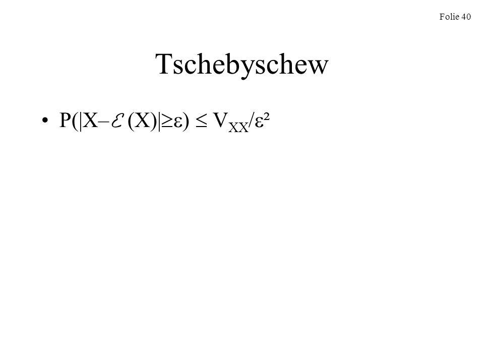 Folie 40 Tschebyschew P(|X– E (X)| ) V XX / ²