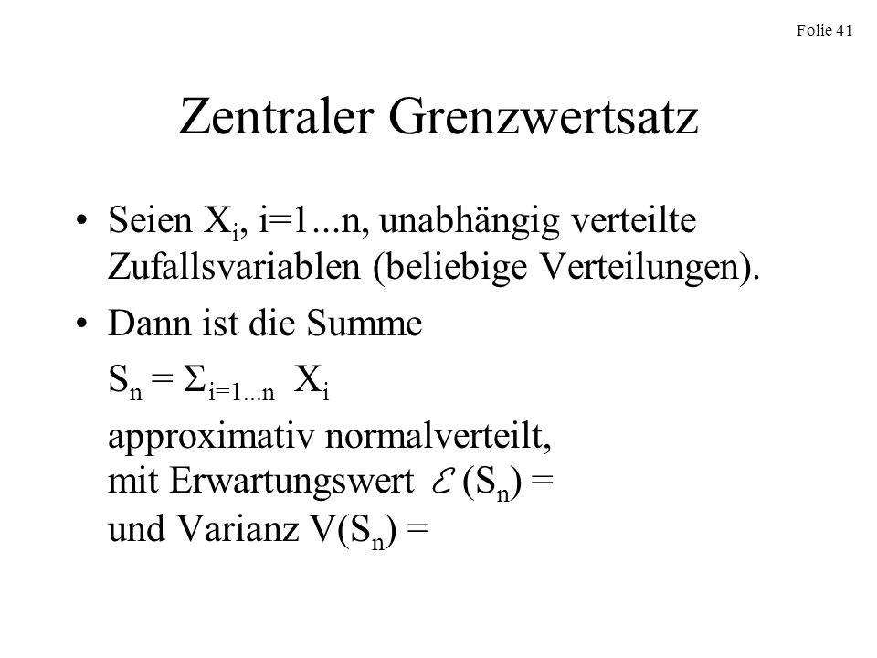 Folie 41 Zentraler Grenzwertsatz Seien X i, i=1...n, unabhängig verteilte Zufallsvariablen (beliebige Verteilungen). Dann ist die Summe S n = i=1...n