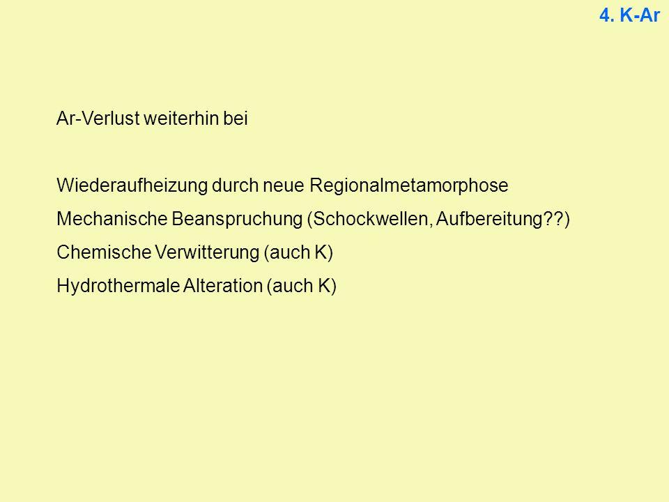 4. K-Ar Ar-Verlust weiterhin bei Wiederaufheizung durch neue Regionalmetamorphose Mechanische Beanspruchung (Schockwellen, Aufbereitung??) Chemische V