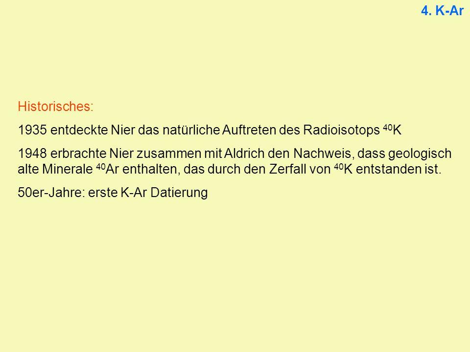 4. K-Ar Historisches: 1935 entdeckte Nier das natürliche Auftreten des Radioisotops 40 K 1948 erbrachte Nier zusammen mit Aldrich den Nachweis, dass g
