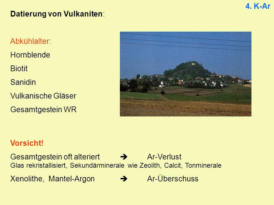 4. K-Ar Datierung von Vulkaniten: Abkühlalter: Hornblende Biotit Sanidin Vulkanische Gläser Gesamtgestein WR Vorsicht! Gesamtgestein oft alteriert Ar-