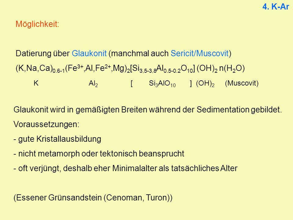 4. K-Ar Möglichkeit: Datierung über Glaukonit (manchmal auch Sericit/Muscovit) (K,Na,Ca) 0.6-1 (Fe 3+,Al,Fe 2+,Mg) 2 [Si 3,5-3,8 Al 0.5-0.2 O 10 ] (OH
