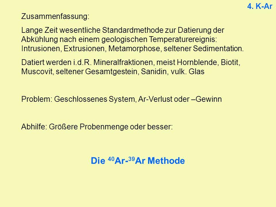 4. K-Ar Zusammenfassung: Lange Zeit wesentliche Standardmethode zur Datierung der Abkühlung nach einem geologischen Temperaturereignis: Intrusionen, E