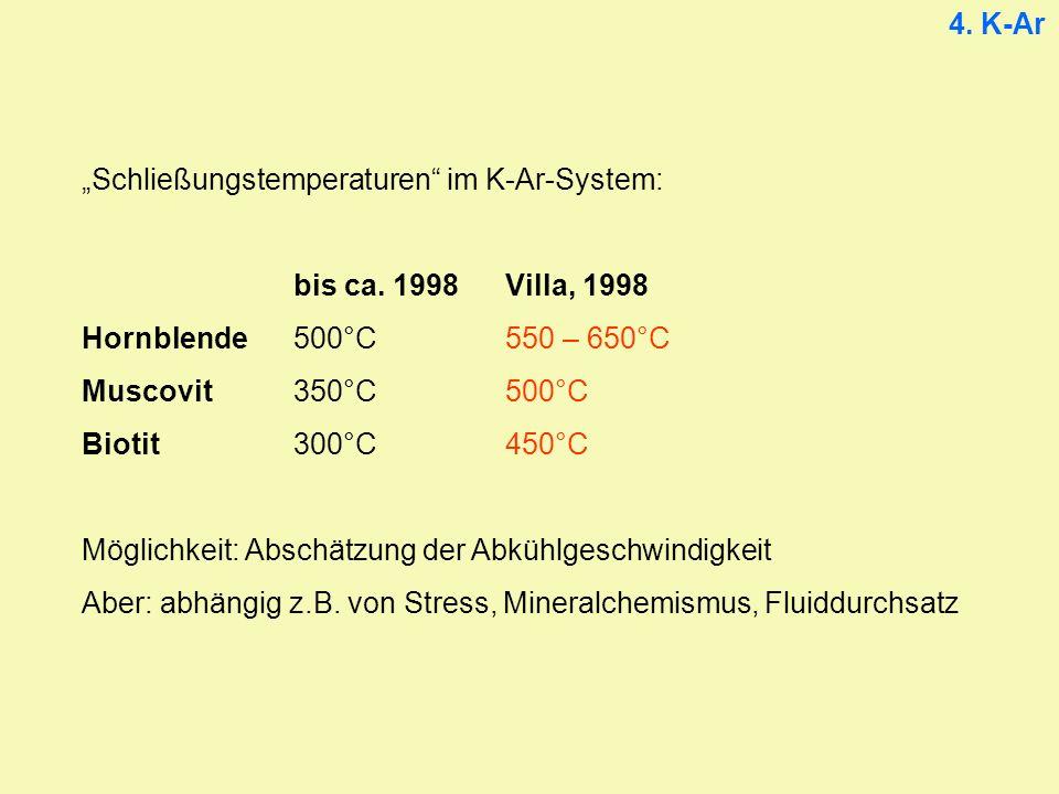 4.K-Ar Schließungstemperaturen im K-Ar-System: bis ca.
