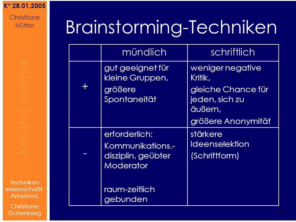 Brainstorming Referat von Christiane Hütter 12 Kau(m) normal Referat von Christiane Hütter IFS 2004 12 Kau(m) normal 12 Techniken wissenschaftl. Arbei