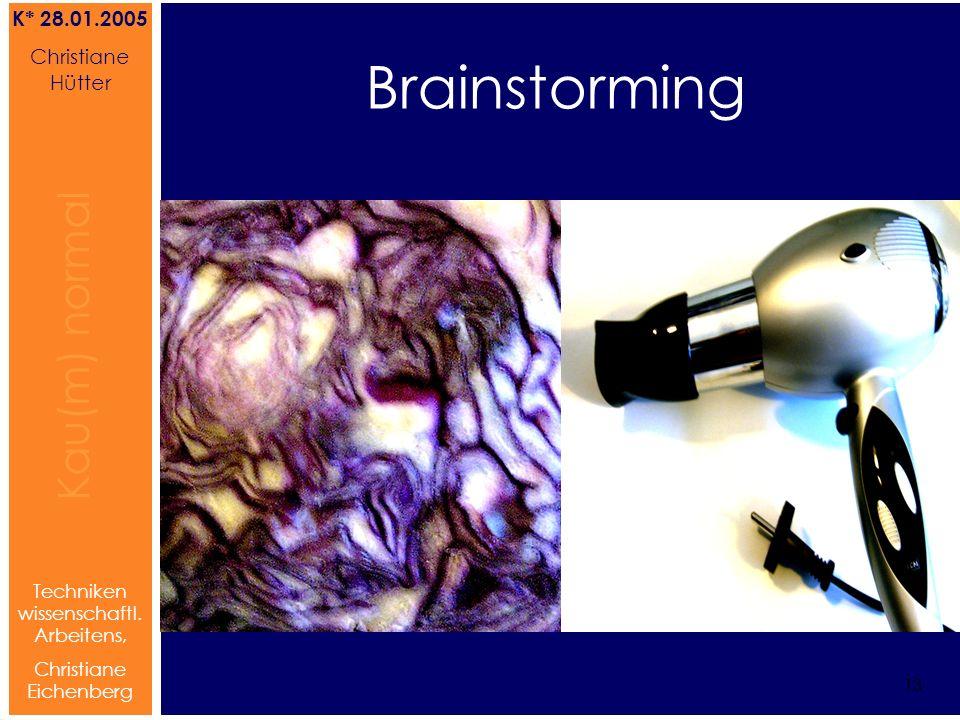 Brainstorming Referat von Christiane Hütter 13 Kau(m) normal Referat von Christiane Hütter IFS 2004 13 Kau(m) normal 13 Techniken wissenschaftl. Arbei