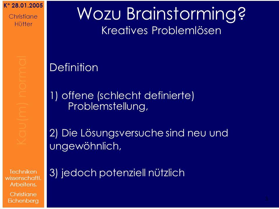 Brainstorming Referat von Christiane Hütter 4 Kau(m) normal Referat von Christiane Hütter IFS 2004 4 Kau(m) normal 4 Techniken wissenschaftl.