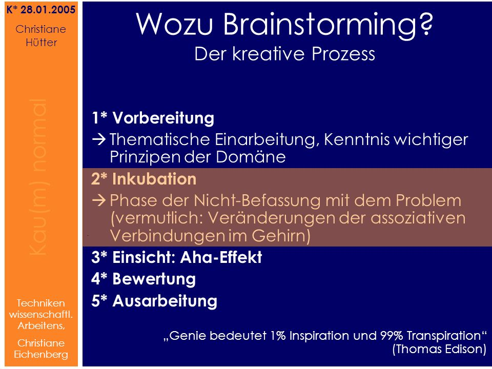 Brainstorming Referat von Christiane Hütter 4 Kau(m) normal Referat von Christiane Hütter IFS 2004 4 Kau(m) normal 4 Techniken wissenschaftl. Arbeiten