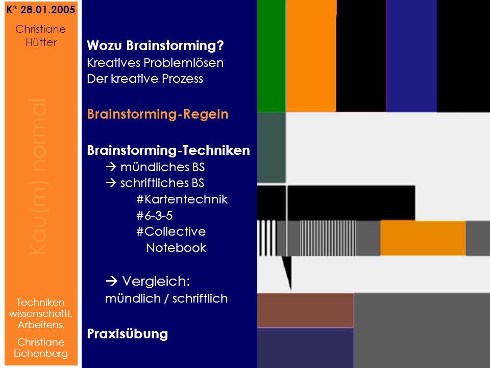 Brainstorming Referat von Christiane Hütter 6 Kau(m) normal Referat von Christiane Hütter IFS 2004 6 Kau(m) normal 6 Techniken wissenschaftl.